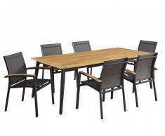 Salle à manger de jardin CANCUN en aluminium et acacia: une table L210cm et 6 fauteuils empilables avec accoudoirs acacia