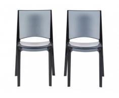 Lot de 2 chaises empilables HELLY - Polycarbonate plein - Gris ardoise