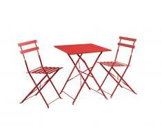 Salle à manger de jardin pliante TACNA en métal : une table et 2 chaises - Rouge