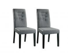 Lot de 2 chaises GABELLE - Tissu & pieds hévéa - Gris