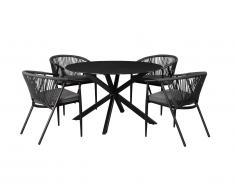 Salle à manger de jardin PORTOFINO en aluminium et cordes: une table ronde D.120cm et 4 fauteuils empilables