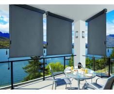 Store enrouleur occultant rétractable avec coffre PESSOA - aluminium et textile - L160*H250cm