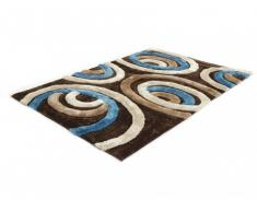 Tapis shaggy SHIMODA bleu et chocolat - polyester - 160*230cm