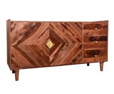 Buffet KALEIDO - 2 portes, 3 tiroirs - Bois de Sheesham - Naturel et Doré
