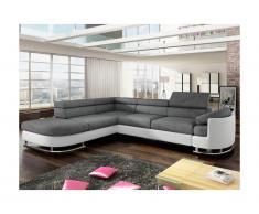 Canapé d'angle convertible en tissu et simili MYSEN - Blanc et gris - Angle gauche
