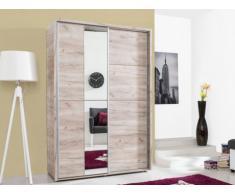 Armoire GALINA - 2 portes coulissantes - Avec miroir - L.137cm - Chêne