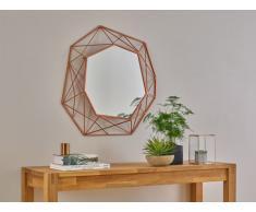 Miroir mural géométrique SAFIRA - D61 cm - Métal - Cuivre