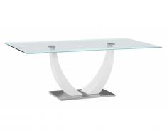 Table à manger MEZZO - 8 couverts - MDF et verre trempé - blanc