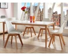 Table à manger SEDNA - 6 couverts - Chêne massif & MDF laqué blanc