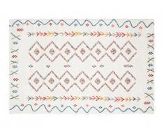 Tapis style berbère JAVA - 160 x 230 cm - Beige et motifs multicolores
