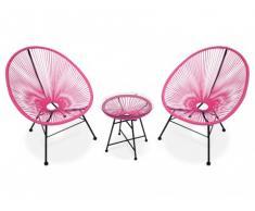 Salon de jardin ALIOS II en fils de résine tressés - fuschia : 2 chaises et une table