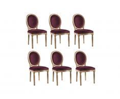 Lot de 6 chaises LOUIS XVI - Velours - Coloris prune