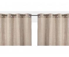 Lot de 2 rideaux à oeillets FIGUIERA - 100% lin - 140x260cm - Beige