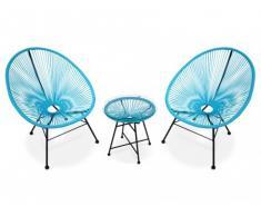 Salon de jardin ALIOS II en fils de résine tressés - turquoise : 2 chaises et une table