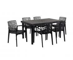 Salle à manger de jardin DIADEME - Table + 6 fauteuils - Polypropylène - Gris anthracite