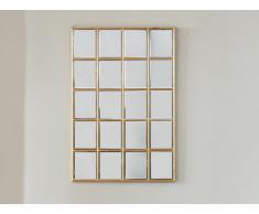 Miroir fenêtre atelier art déco MADDIE - effet laiton- 60 x 90 cm - Doré