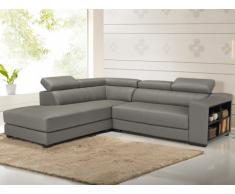 Canapé d'angle cuir LEEDS - Gris - Angle gauche