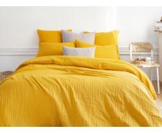 Parure de lit gaze de coton LEGERO - housse de couette 220 x 240 cm + 2 taies d'oreiller 63 x 63 cm - moutarde