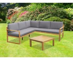 Salon de jardin CAPELLI en bois d'eucalyptus: un canapé d'angle et une table basse - Assise grise