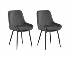 Lot de 2 chaises BELIZE - Velours - Anthracite