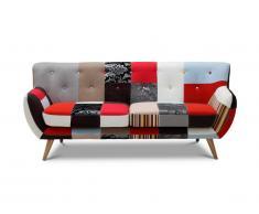 Canapé 3 places SERTI - Tissu patchwork nuances rouge/noir