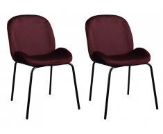 Lot de 2 chaises MATERA - Velours et Métal - Bordeaux