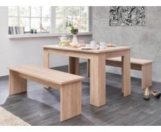 Ensemble table + 2 bancs DIGORY - 6 couverts - Coloris chêne