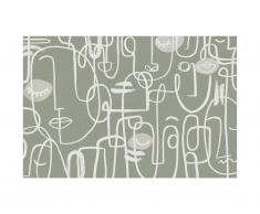 Tapis en vinyle style design YAGO - 120 x 180 cm - Gris/vert