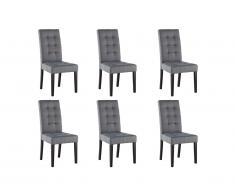 Lot de 6 chaises VILLOSA - Tissu gris & Pieds bois noir
