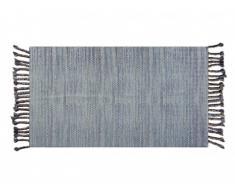 Tapis à franges style ethnique ELOISE - 100% coton - 140 x 200 cm - Bleu