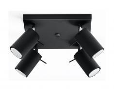 Plafonnier 4 lampes design RANDY - acier - noir