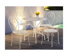 Salle à manger de jardin en métal façon fer forgé GUERMANTES: une table et 4 chaises empilables blanches