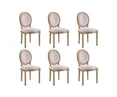 Lot de 6 chaises LOUIS XVI - Velours - Coloris rose pâle