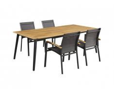 Salle à manger de jardin CANCUN en aluminium et acacia: une table L210cm et 4 fauteuils empilables avec accoudoirs acacia