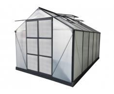 Serre de Jardin en polycarbonate de 9 m² COROLLE II avec embase - anthracite
