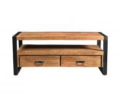 Meuble TV HARLEM - 2 tiroirs & 1 niche - Bois de manguier & métal