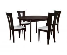 Pack salle à manger : Ensemble table + 4 chaises TIFFANY - Hêtre massif wengé