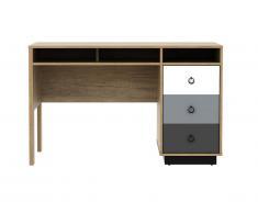 Bureau KRYPTON - 3 tiroirs & niches - Coloris : chêne, blanc et gris