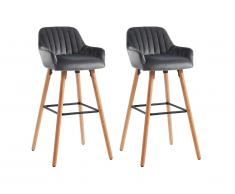 Lot de 2 tabourets de bar ELEANA - Velours & Bois - Gris