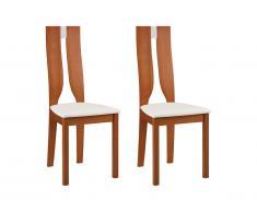 Lot de 2 chaises SILVIA - Hêtre massif - Merisier et blanc
