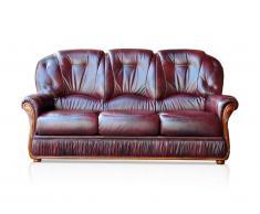 Canapé 3 places 100% cuir de buffle DAPHNE - Bordeaux