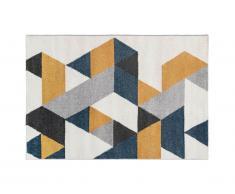 Tapis géométrique scandinave GEOMIE - 120 x 170 cm - jaune, gris et bleu