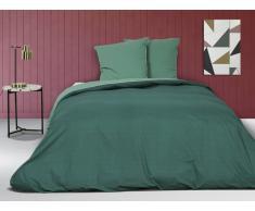 Parure de lit en percale IONESCO - housse de couette 240 x 260 cm - 2 taies d'oreiller 65 x 65 cm - Vert jade
