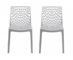 Lot de 2 chaises empilables DIADEME - Polypropylène - Blanc dolomite