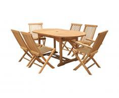 Salle à manger de jardin BYBLOS - Teck: 1 table extensible L180/240cm + 2 fauteuils + 4 chaises