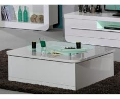 Table basse DESPINA - 1 porte - MDF & Verre trempé - Blanc