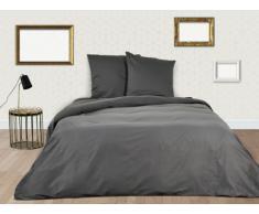 Parure de lit BEAUREGARD en satin - housse de couette 220x240cm + 2 taies d'oreiller 65x65 cm - Gris