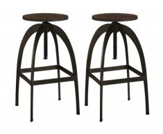 Lot de 2 tabourets de bar KINGSTON - Bois & Métal