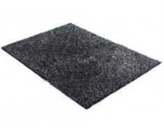 Tapis shaggy SPOONY - noir et gris - polyester - 160 x 230 cm