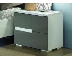 Chevet droit GUILHEM - 2 tiroirs - Laqué gris et blanc